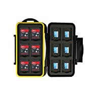 JJC SD Card Case Holder Box TF Card Case Holder Box for Storage and Protection of 12 SD/SDHC/SDXC Card & 12 TF/Micro SD Card used on DSLR GoPro DJI and More Device,Water-Resistant and Shockproof