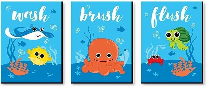 crocodile art boys wall art kids bathroom art wash brush custom colors Alligator bathroom flush set of 3