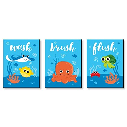 Amazoncom Under The Sea Critters Kids Bathroom Rules Wall Art