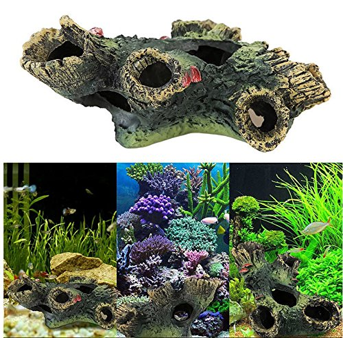 New Stump Rockery Fish Tank Ornament Aquarium Hiding Cave Underwater D?cor Set23 (Avatar Masks)
