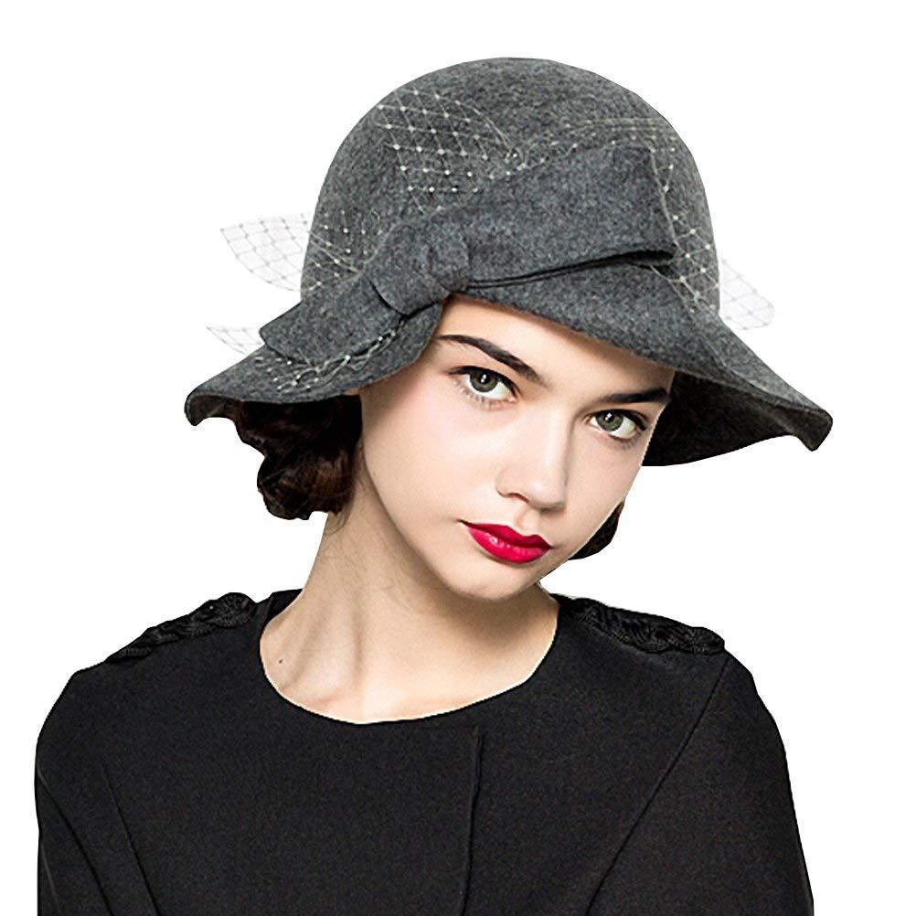 M/ützen Filzhut Damen Elegante Winter M/ädchen Herbst Glockenhut Vintage Mode Modern Style Trilby Hut Caps