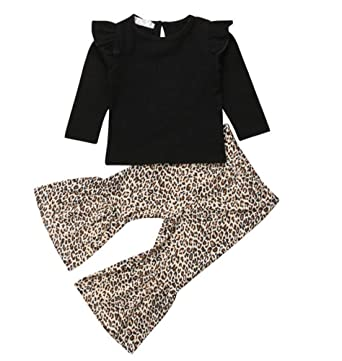3106c0f21ee82 Baby Girls Lace Off Shoulder Crop Tube Top+High Waist Long Leopard Pants  Bell Bottom