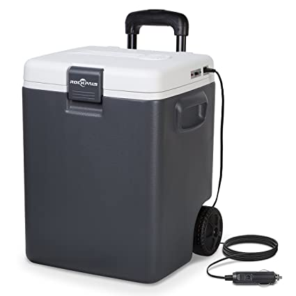 Plug In Cooler >> Rockpals 30 Quart Electric Cooler Warmer On Wheels Handle Portable Iceless 12v Thermoelectric Plug In Cooler Chiller For Truck Car Rv Suv Home