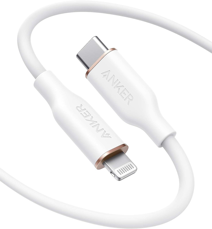 Anker PowerLine Ⅲ Flow USB-C & ライトニング ケーブル MFi認証 PD対応 シリカゲル素材採用 iPhone 12 / 12 Pro / 12 Pro Max/AirPods Pro 各種対応 (1.8m ミッドナイトブラック)