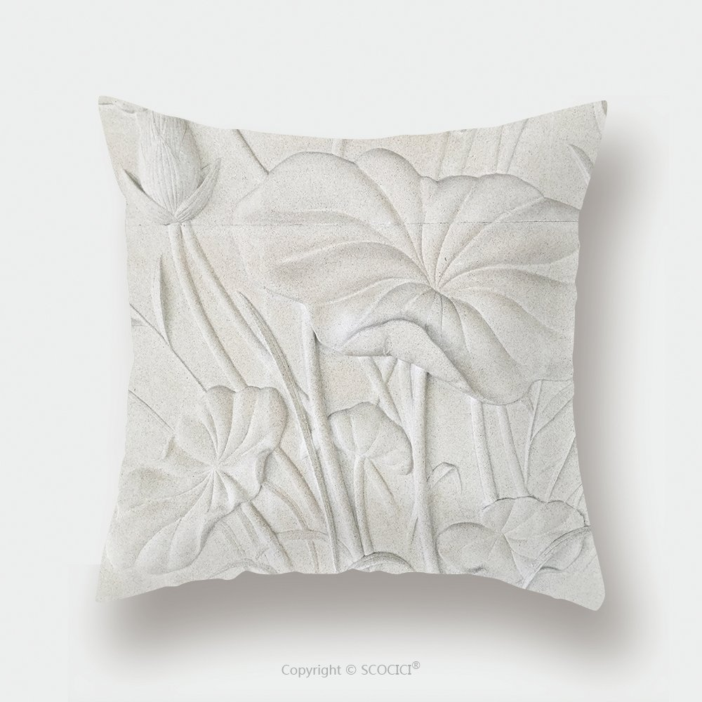 Custom Satin Pillowcase Protector Low Relief Cement Thai Style Handcraft Of Lotus Flower 446465590 Pillow Case Covers Decorative