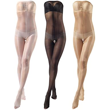 3fc94f4d14d30 ElsaYX Women's Ultra Shiny Toe to Bust Crotchless Body Stocking Pantyhose  Lingerie