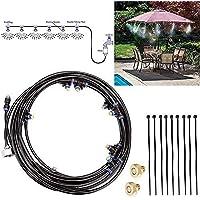 MAMASAM Kit de Sistema de enfriamiento por nebulización 32.8 pies (10 m) Línea de atomización 10 Boquilla de Niebla para jardín Jardín Invernadero Umbrella Trampoline