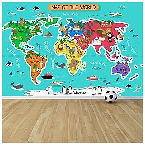 Amazoncom Azutura Cartoon Animal World Map Wall Mural Map