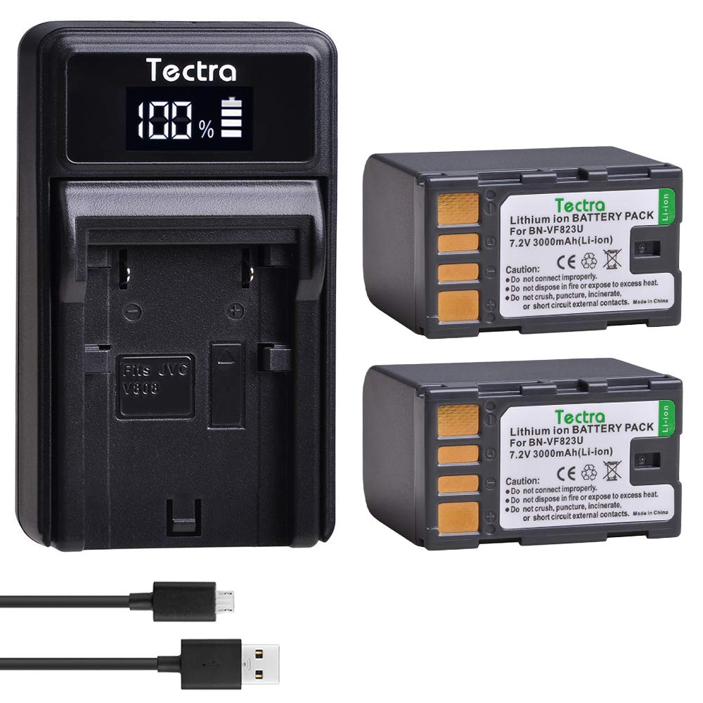 Tectra 2-Pack BN-VF823 Batteries and LED USB Charger for JVC BN-VF823 BNVF823 and Everio GS-TD1 GY-HM70U HM100U HM150U HMZ1U MG230 MG360 MG365 MG430 MG435 MG465 MG555 MG730 MS120 MS130 HD3 HM1 HM200