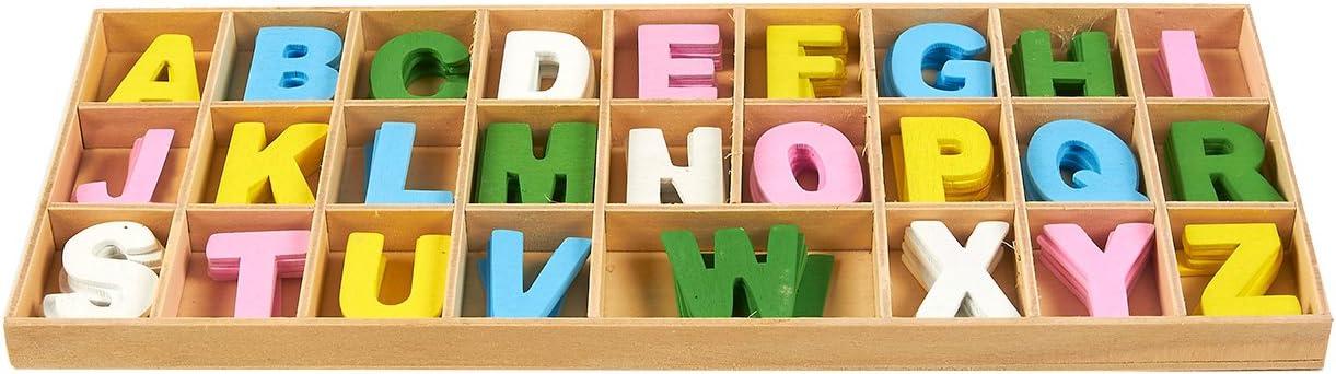 letras del alfabeto de madera para decoraci/ón del hogar Juego de 260 letras de madera para manualidades con bandeja de almacenamiento Multicolor 2,5 cm