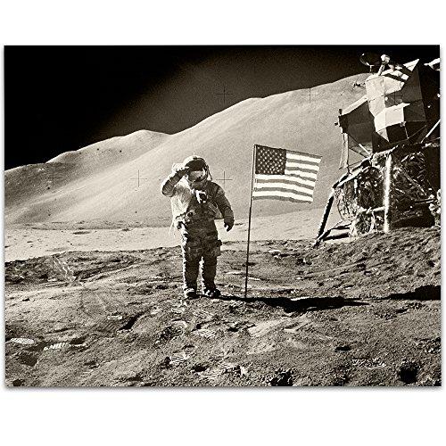 Moon Landing Astronauts - Lone Star Art Apollo 15 Moon Landing Photo - 11x14 Unframed Print - Perfect Vintage House Decor