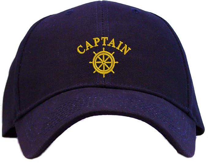 454bbb67fa2 Captain with Ships Wheel Embroidered Baseball Cap - Navy at Amazon ...