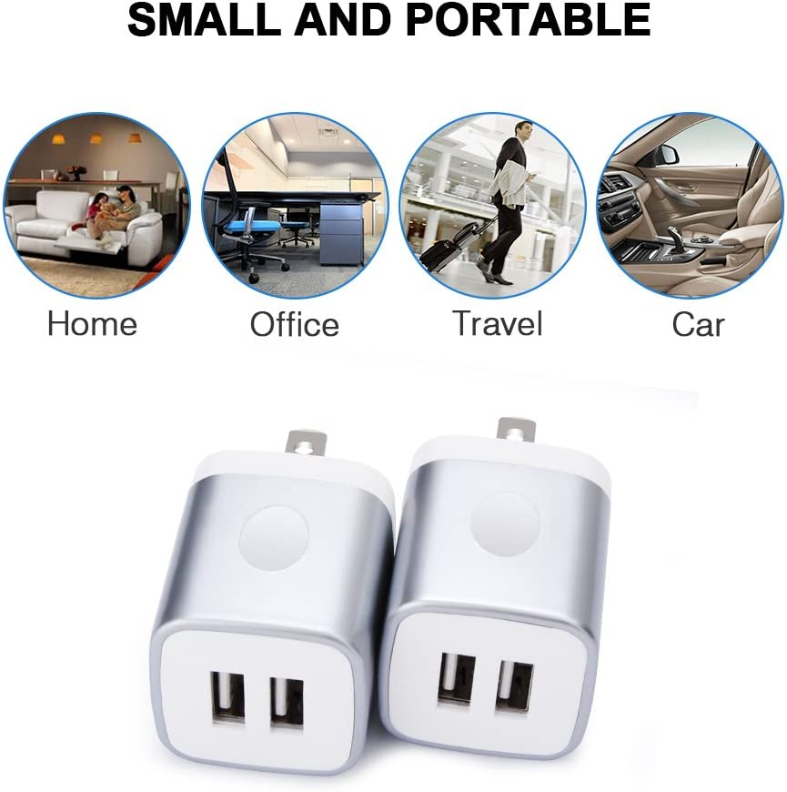 LG Android Samsung S9 S8 S7 S6 Note 9 8 FiveBox 2Pack Dual Port USB Wall Charger Brick Plug 2.1A Charging Base Block USB Charger Cube Box Compatible iPhone Xs Max//XR//X//8//7//6//6s HTC iPad Phone