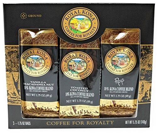 Coconut Macadamia Coffee (Royal Kona Single Pot 10% Kona Blend Coffee Sampler (Vanilla Macadamia Nut, Toasted Coconut, Roy's Pacific Roast (3 bags 1.75 Oz. 49 g))