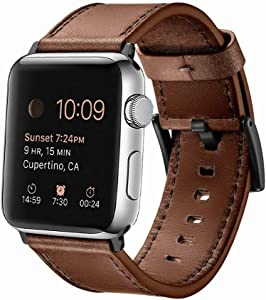 EAVAE Strap Compatible with Apple Watch Bands Leather Brown 44mm 42mm,Premium Leather Replacement Band for iWatch Apple Watch Series 6 5 4 3 2 1 Apple Watch SE Men and Women