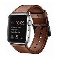 SWAWS Correa de repuesto para Apple Watch, correa de piel genuino iWatch con cierre de metal inoxidable para Apple Watch Series 3 Series 2 Series 1 Sport y Edition 42 mm 38 mm para hombres y mujeres, Dark Brown-42mm
