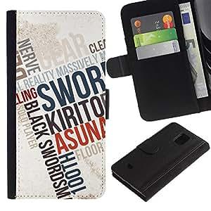 // PHONE CASE GIFT // Moda Estuche Funda de Cuero Billetera Tarjeta de crédito dinero bolsa Cubierta de proteccion Caso Samsung Galaxy S5 Mini, SM-G800 / Typography Poster /