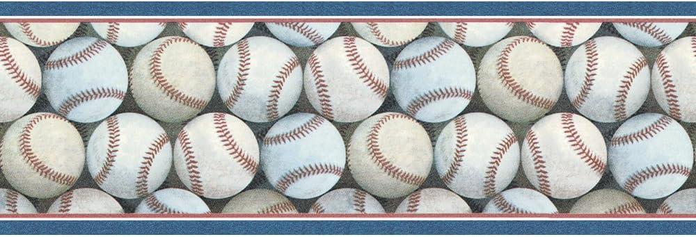 Blue Mountain Wallcoverings FB075271B Baseball Pile Prepasted Wall Border