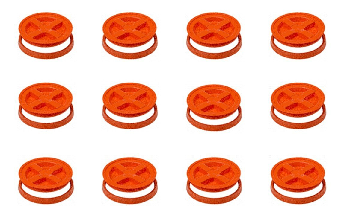 5 Gallon Orange Gamma Seal Lids-12 Pack Screw Top Removable Lids.