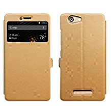"BLU Vivo XL Case [View Window] [Full Range Protection], Popsky Linen Texture Slim Leather Multi-angle Stand Folio Case Cover for BLU Vivo XL Smartphone -5.5"" 4G LTE Phone (Brown)"