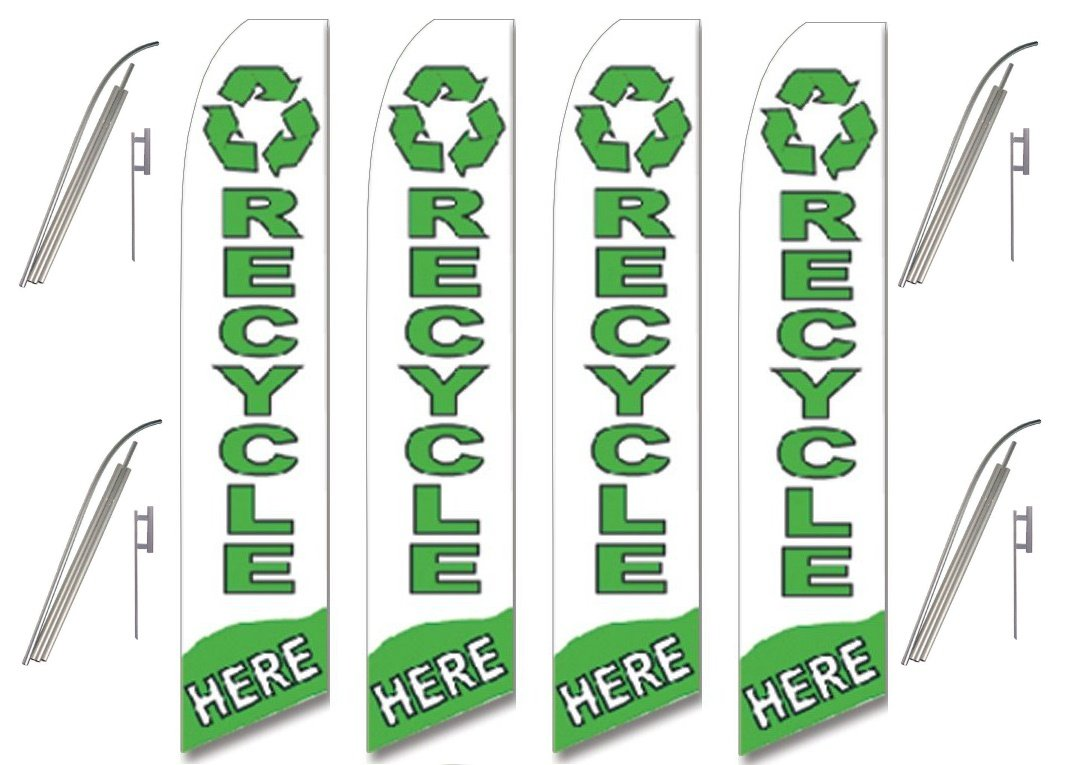 Four (4) Pack Swooper Flags & Pole Kits White Green with Icon RECYCLE HERE