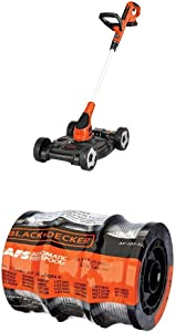 BLACK+DECKER 3-in-1 Lawn Mower, String Trimmer and Edger, 12-Inch with Trimmer Line, 30-Foot, 0.065-Inch, 3-Pack (MTC220 & AF-100-32P)