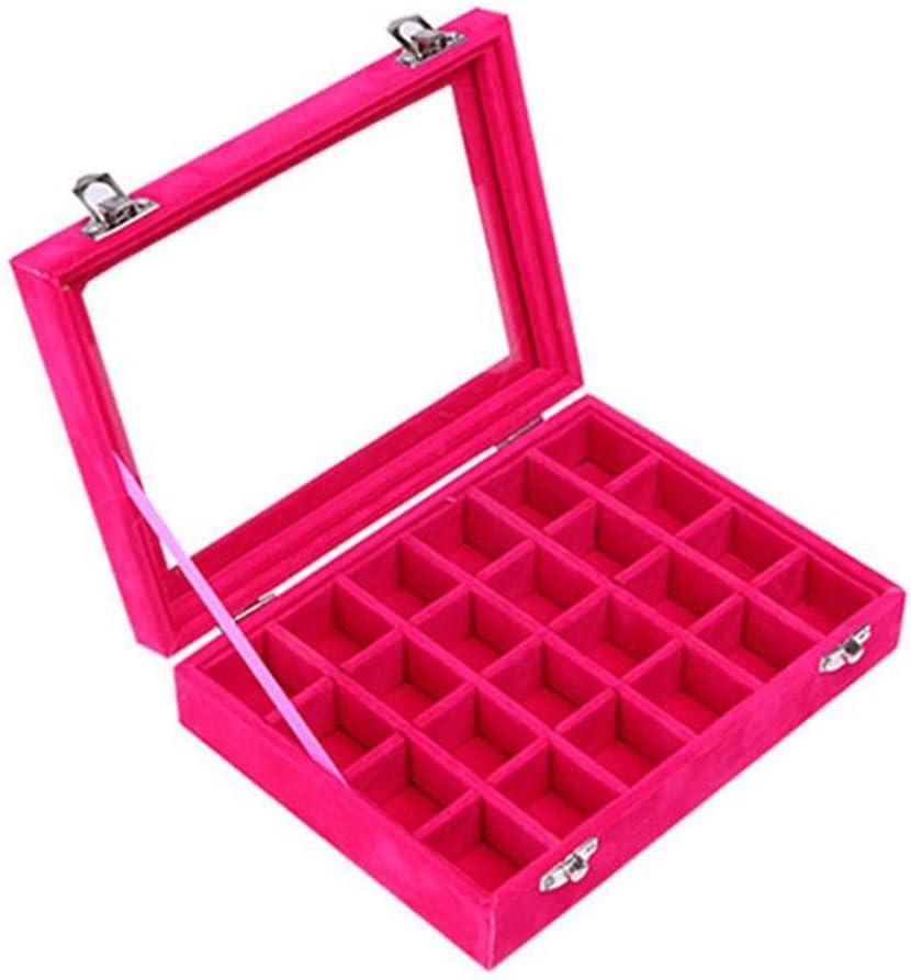 Juanya Joyero Organizador Caja de almacenamineto Franela para joyerias Anillos Pulsera Collar Pendientes(Rosa)