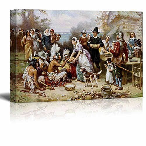 Famous Art Reproductions - wall26 - The First Thanksgiving by Jean Leon Gerome Ferris - Canvas Print Wall Art Famous Painting Reproduction - 12