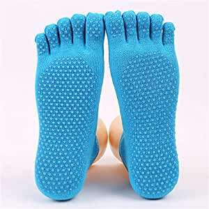Five-Finger Cotton Silicone Rubber Pure Color for Women Yoga Socks,Fully Breathable (Color : Blue)