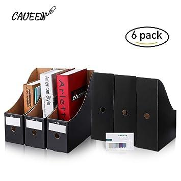 CAVEEN Caja de Almacenamiento de la Oficina Revistero Archivador con Cédula Kraft Paper Organizador de Documentos Papelería Revista Lápices Accesorios de ...