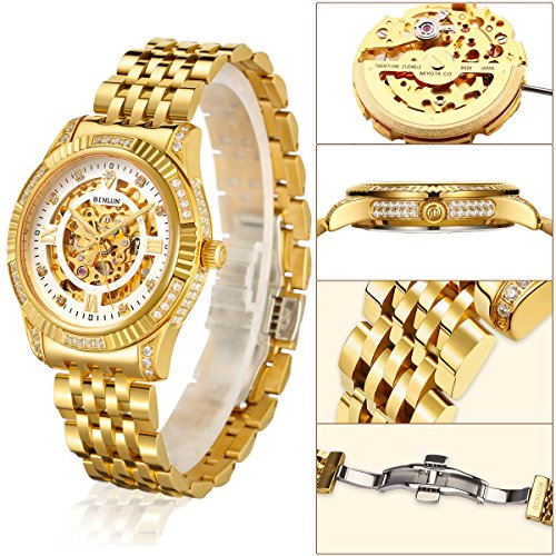BINLUN Men's Gold Automatic Luxury Skeleton Watches Gift to Father by BINLUN (Image #1)
