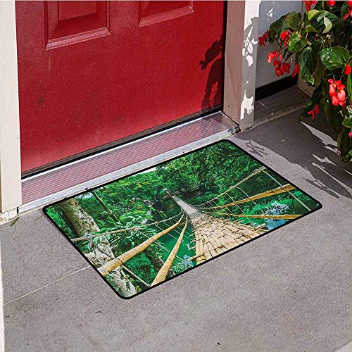 GloriaJohnson Tropical Inlet Outdoor Door mat Bamboo Pedestrian Suspension Bridge Over River in Tropical Forest Philippines Catch dust Snow and mud W23.6 x L35.4 Inch Green Beige