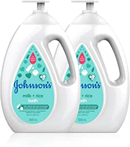 Johnson's Baby Bath Milk+Rice Value Pack, 1L (Pack of 2)