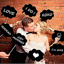 10pcs DIY Black Wedding Photo Booth Props Speech Bubble on a Stick Party Prom Shower Decoration Favor Fun