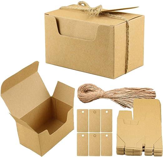 Aweisile 50 piezas Kraft Papel Cajas de Regalo Papel Kraft Cajas para Dulces Cajita de Rectángulo con etiquetas de regalo y cuerda de cáñamo para Fiestas Bodas Galletas Joyas Regalo Dulces 10x6x6cm: