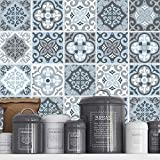 Tiles Stickers Decals - Packs with 32 Tiles (3.9 x 3.9 inches, Decorative Wall Tile Sticker Vintage Blue Grey)