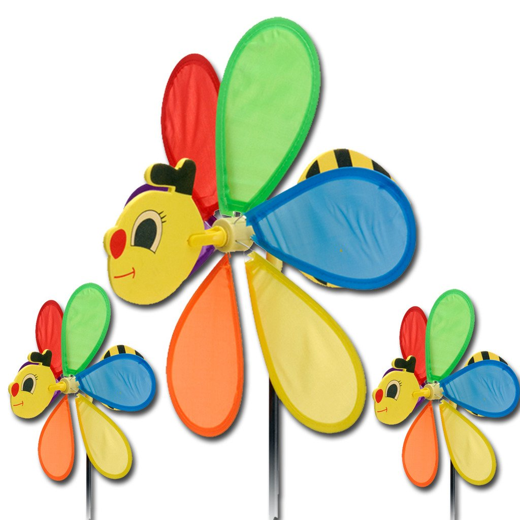 Spinning garden decorations - Large Bee Rainbow Flower Windmill Wind Spinner Colourful Garden Outdoor Decoration