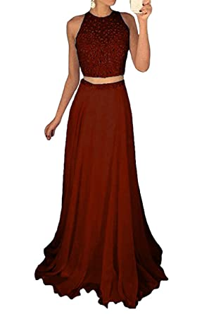 Momabridal Long Chiffon Two Pieces Beaded Prom Dresses Illusion Neck Evening Party Formal Gowns Burgundy 2