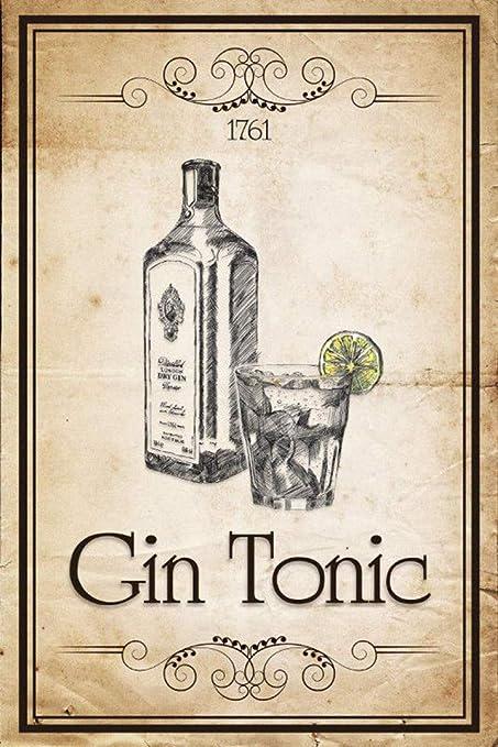 Gin Tonic Póster De Pared Metal Retro Placa Cartel Cartel De ...