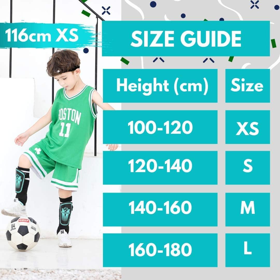 CybGene Espinilleras Futbol para Ni/ño J/óvenes Adulto Equipo Protector de F/útbol Tirantes Ajustables con Mangas Protectoras de Tobillo