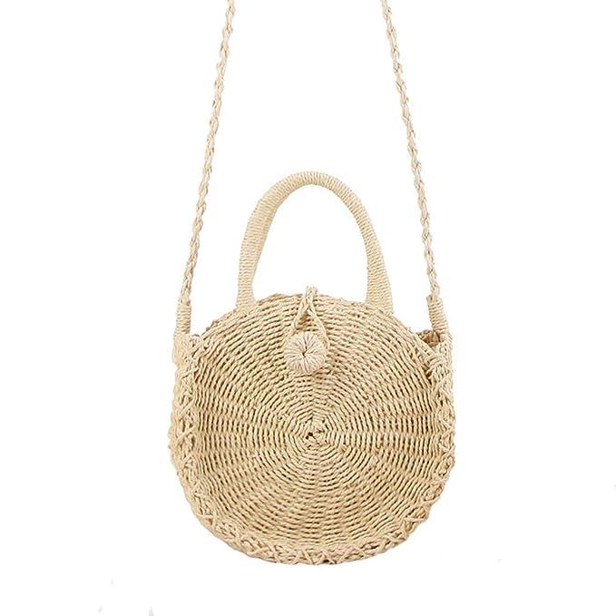 96d6f0f31cfb Amazon.com: Straw Crossbody Bag Women Weave Shoulder Bag Round ...