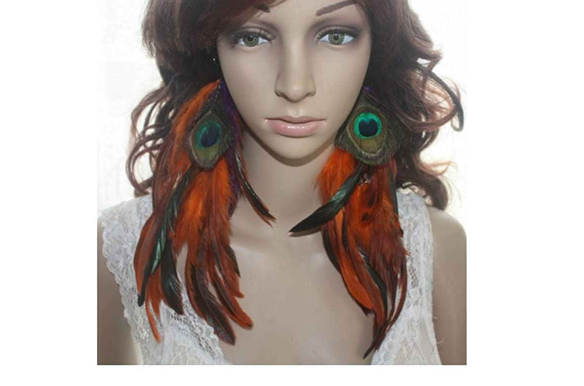 Peacock Feather Earrings for Women Orange Natural Feather Earrings