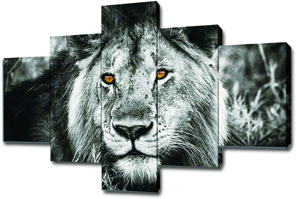 SwmArt 5 Piece Black and White Gray Lion Head Portrait Wall Art Painting Pictures Print On Canvas Animal The Picture for Home Modern Decoration(50