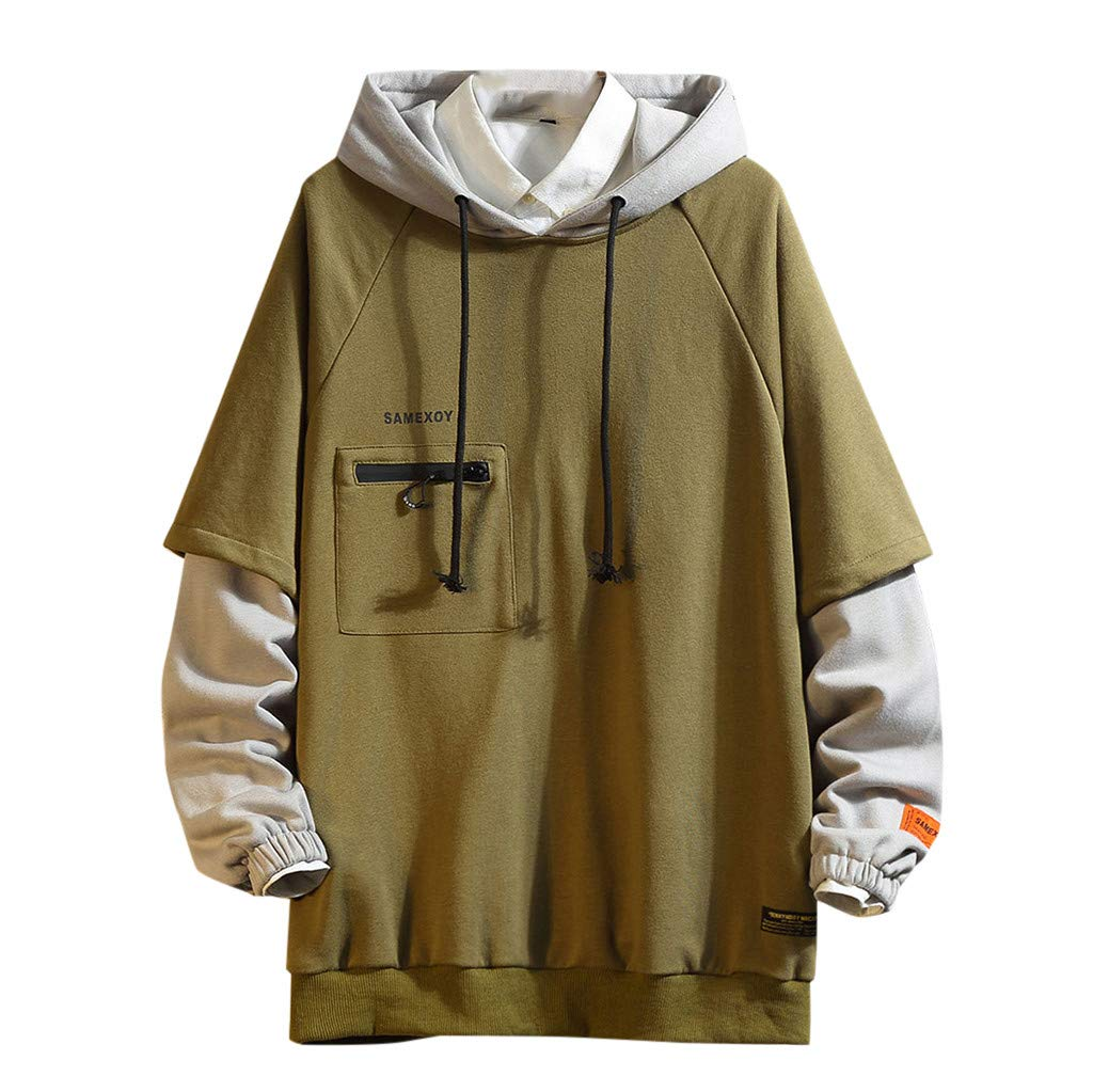Men's Patchwork Hoodie Sweatshirt,Fashion Male's Long Sleeves Blouse Tops Casual Pullover Printed Sports Outwear (XXX-Large, Army Green) by LANTOVI Men Sweatshirt