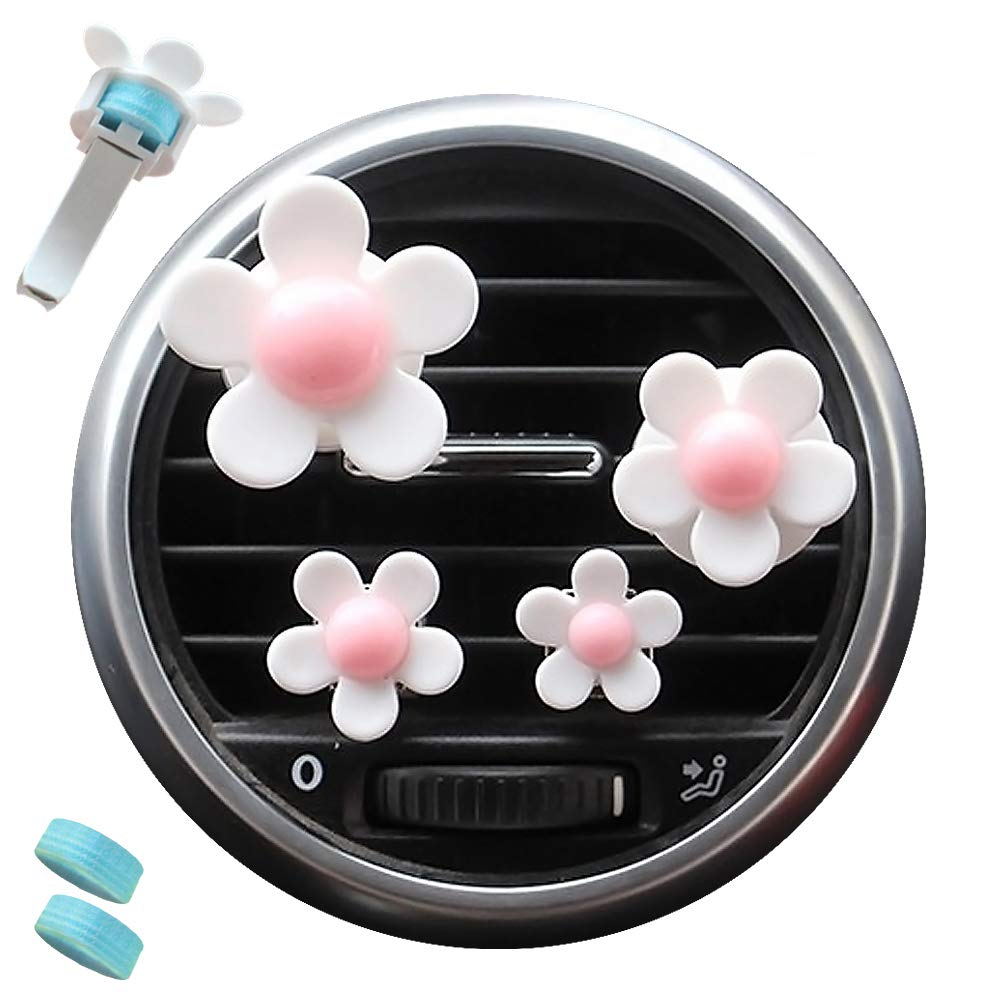 AdongTop 6pcs Car Air Vent Decoration-Car Charm Beautiful Daisy Flowers with Plastic and Two Balm,for Car, Home, Decor, Gift,Kid's(White)