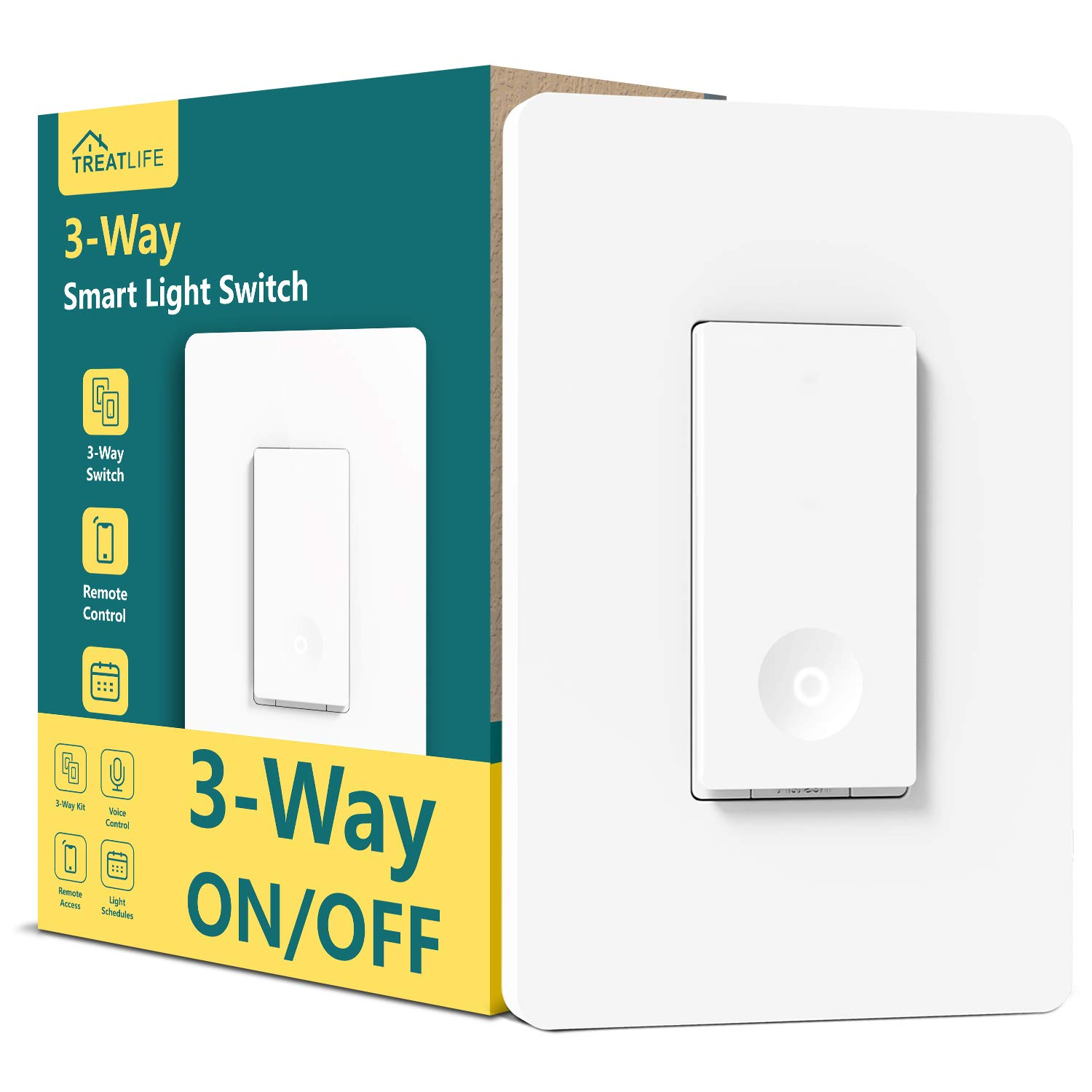 3 Way Smart Switch, Treatlife 2.4GHz WiFi Light Switch Works with Alexa and  Google Home, Neutral Wire Required, Remote Control, Schedule Timer, ETL  Certified, 1 Pack, White: Amazon.com: Industrial & ScientificAmazon.com