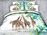Goldeny JF-395 Lovely Giraffe printed bedding cover set 3pcs kids adult bed linen contains 1 duvet cover 2 pillowcases (Full)