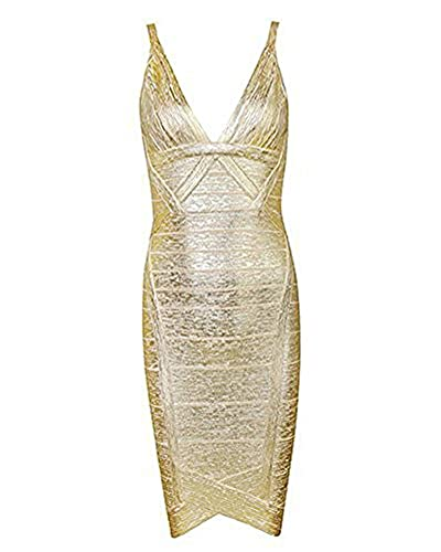 UONBOX Women's Sexy V Neck Foil Print Bodycon Bandage Dress