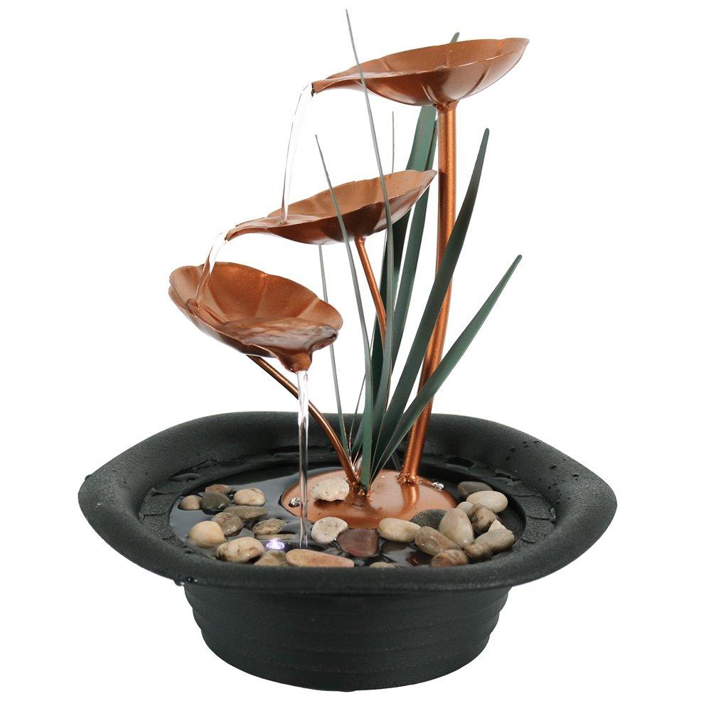 Sunnydaze Three Leaf Cascading Tabletop Water Fountain, 10 Inch Sunnydaze Decor
