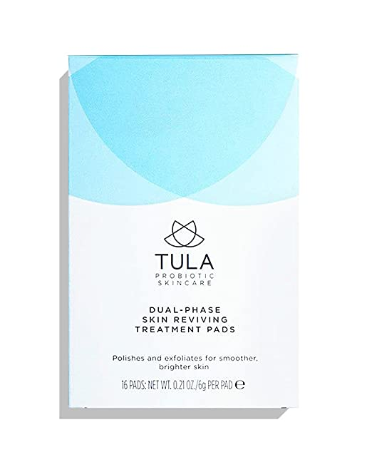 TULA Probiotic Skin Care Dual-Phase Skin Reviving Treatment Pads - Instant Facial Pads, Smooth and Brighten Skin